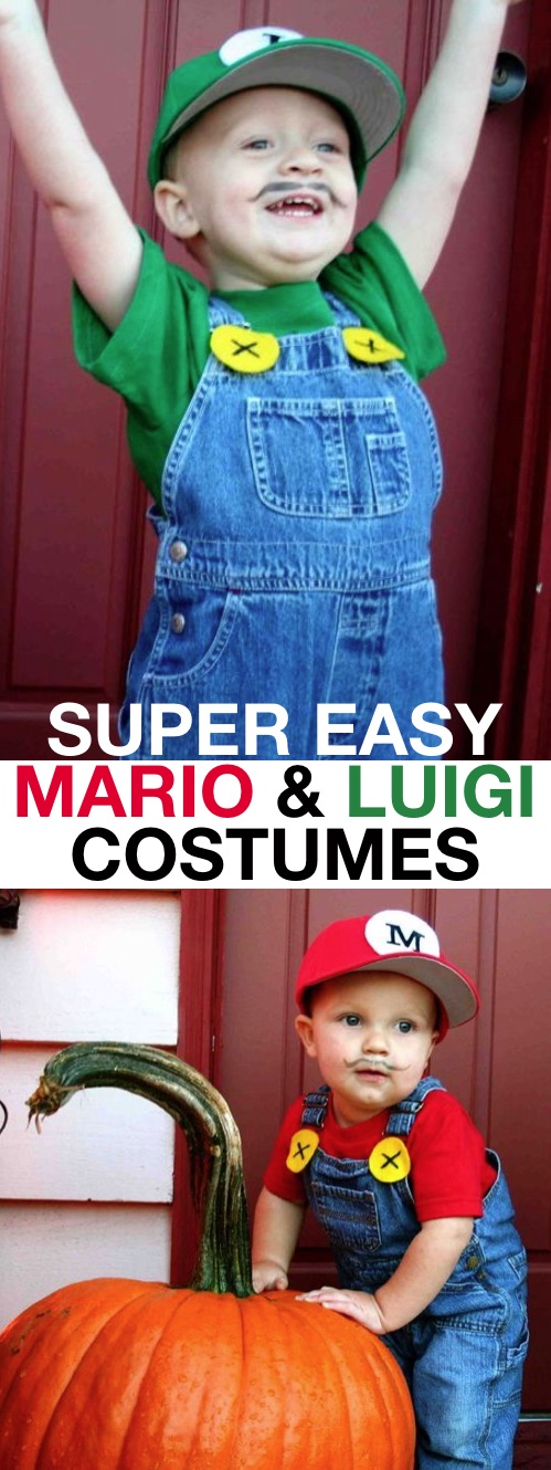30 Easy DIY Halloween Costumes For Kids (Boys and Girls!) | DIY Mario and Luigi Costume Idea-- super cute for siblings! Easy and last minute.