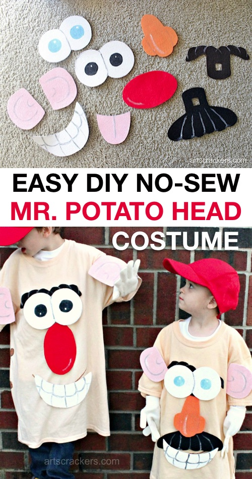 30 Easy DIY Halloween Costumes For Kids (Boys and Girls!) | Homemade Mr. Potato Head Halloween Costume-- great for siblings! And no sew!