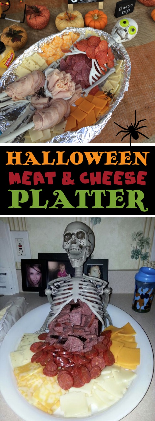My 10 FAVORITE Halloween Party Appetizers! Skeleton Meat and Cheese Platter-- easy, creepy and fun! These scary Halloween party appetizers are great for both kids and adults! They're all perfect for a crowd, including finger foods and easy dips. Most of them are quick made ahead recipes, so you can spend more time partying! Lots of creative ideas! | Listotic
