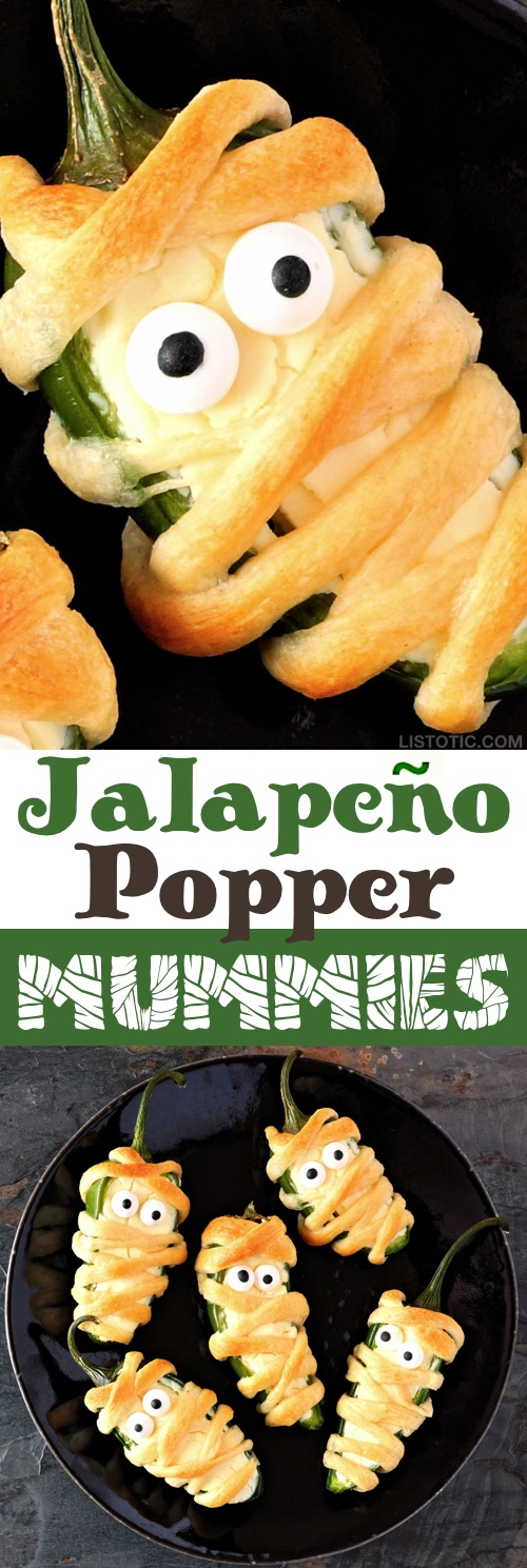 My 10 FAVORITE Halloween Party Appetizers! These Jalapeño Mummies are SO GOOD!-- easy, creepy and fun! These scary Halloween party appetizers are great for both kids and adults! They're all perfect for a crowd, including finger foods and easy dips. Most of them are quick made ahead recipes, so you can spend more time partying! Lots of creative ideas! | Listotic