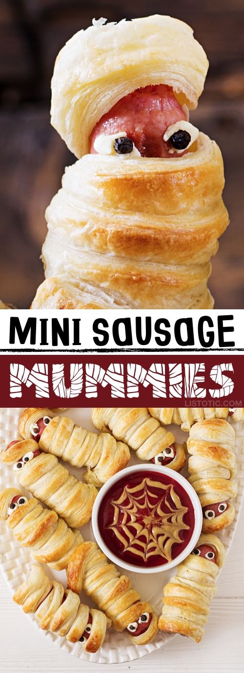 My 10 FAVORITE Halloween Party Appetizers! Mini Sausage Mummies-- easy, creepy and fun! These scary Halloween party appetizers are great for both kids and adults! They're all perfect for a crowd, including finger foods and easy dips. Most of them are quick made ahead recipes, so you can spend more time partying! Lots of creative ideas! | Listotic