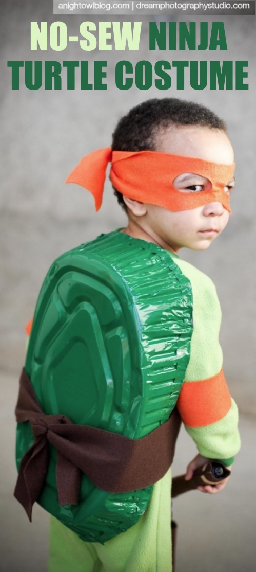 30 Easy DIY Halloween Costumes For Kids (Boys and Girls!) | Homemade Teenage Mutant Ninja Turtle Costume-- great for toddlers! No sewing required.