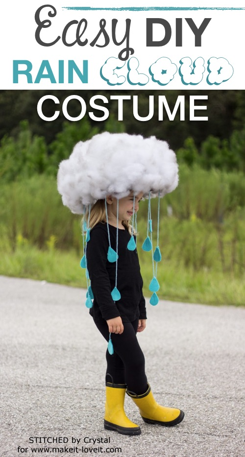 30 Easy DIY Halloween Costumes For Kids (Boys and Girls!) | Super cute homemade Halloween costume idea-- easy rain cloud costume!
