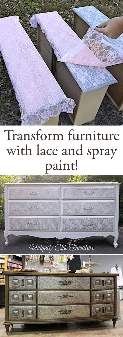 DIY spray paint technique for furniture using lace! This makes such a cool design. Lots of DIY spray paint ideas here. | Listotic