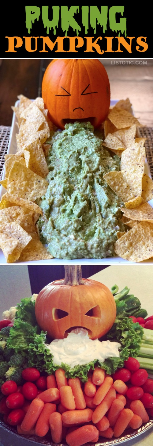 My 10 FAVORITE Halloween Party Appetizers! PUKING PUMPKINS-- easy, creepy and fun! These scary Halloween party appetizers are great for both kids and adults! They're all perfect for a crowd, including finger foods and easy dips. Most of them are quick made ahead recipes, so you can spend more time partying! Lots of creative ideas! | Listotic
