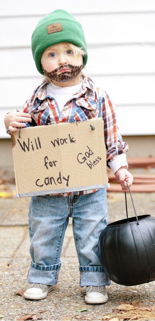 30 Easy DIY Halloween Costumes For Kids (Boys and Girls!) | Hobo Halloween Costume-- great last minute idea! Cheap and easy.