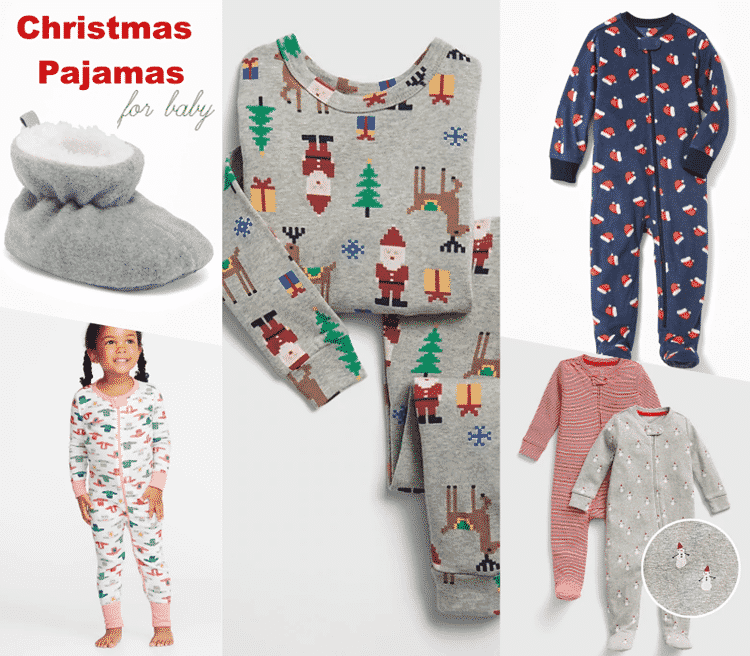 Adorable Christmas pajamas for baby.