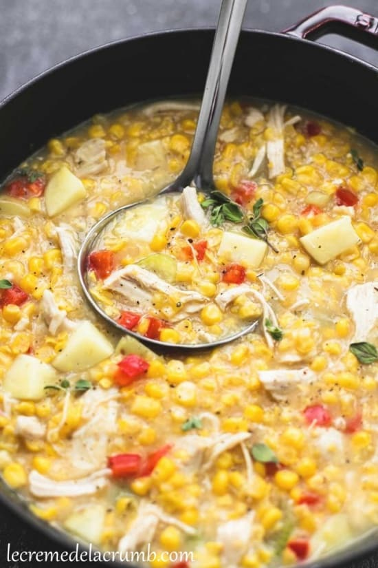 Excellent turkey corn chowder with Thanksgiving leftovers.