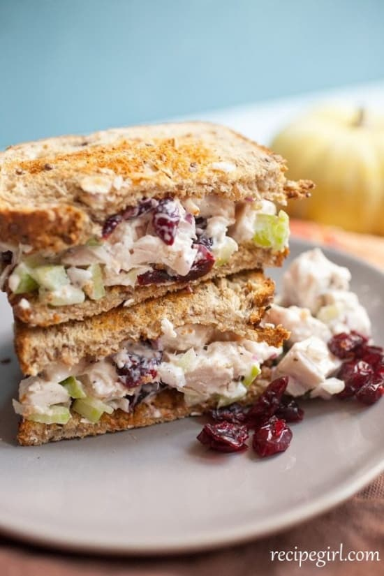 Favorite turkey salad sandwich. Easy to make Thanksgiving leftovers.