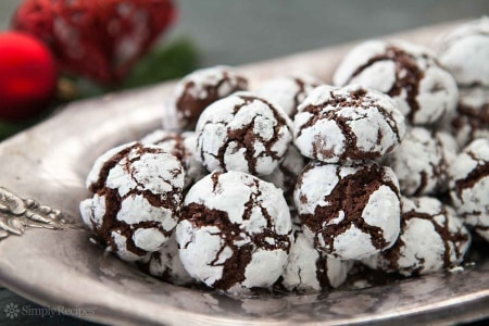 Holiday treats for everyone. Chocolate crinkle cookies are Santa's favorite.