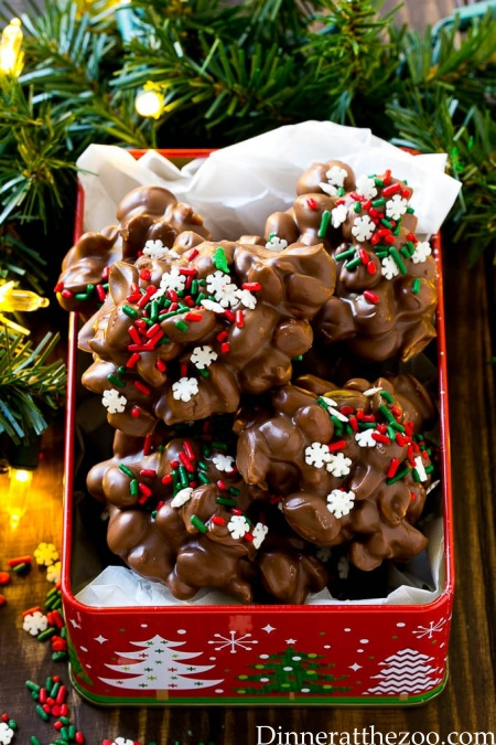 Peanut Clusters - holiday treats made in the crock pot.