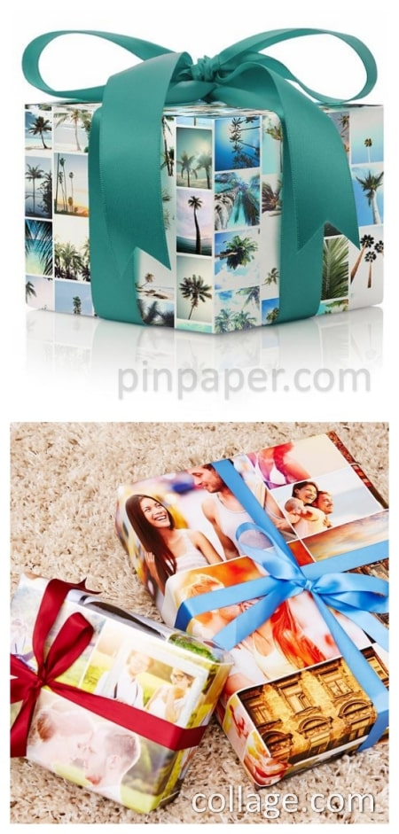 Options for customized photo gift wrap.