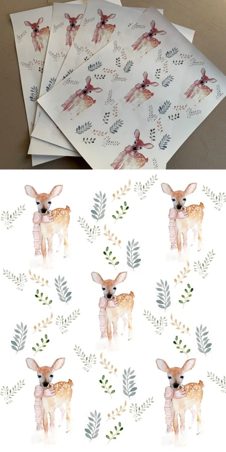 Printable deer wrapping paper.