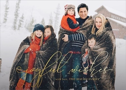 Mpix greeting card of family in snow.