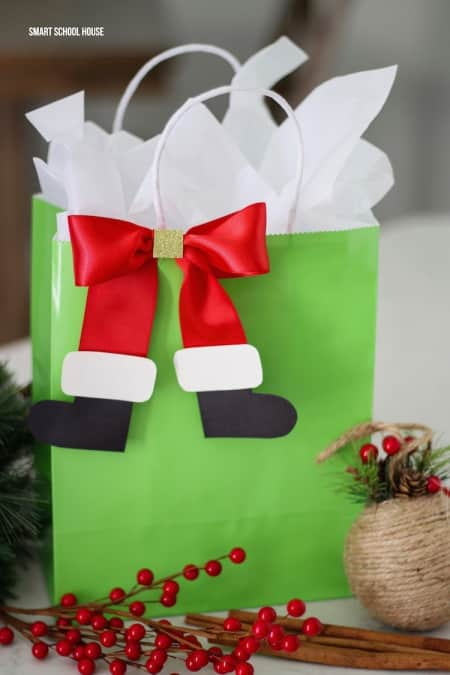 Santa Boot Bow gift wrap
