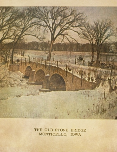 Vintage photo of Old Stone Bridge.