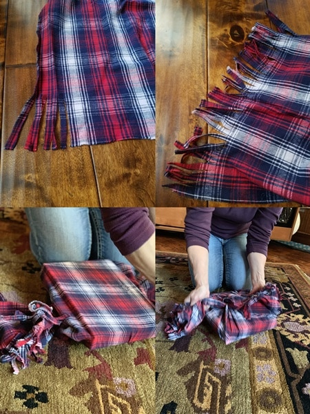Instructions for using fabric for gift wrapping.