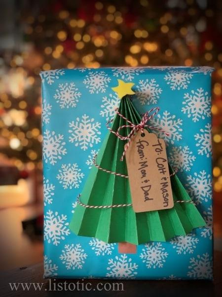 Colorful Christmas tree gift wrap.