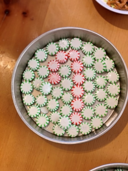 Mint holiday plate made with melted peppermints.
