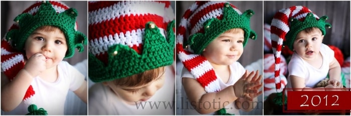 Kids in Santa hats for Christmas greeting card.