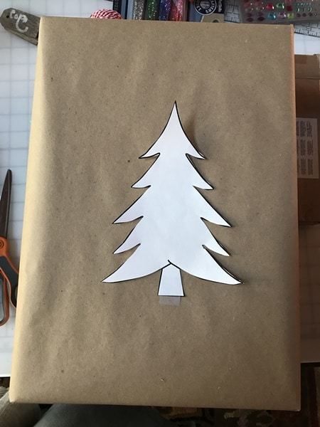 Christmas tree template for easy painted wrapping paper.