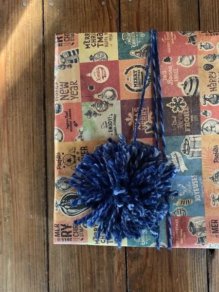 Pom gift wrapping.