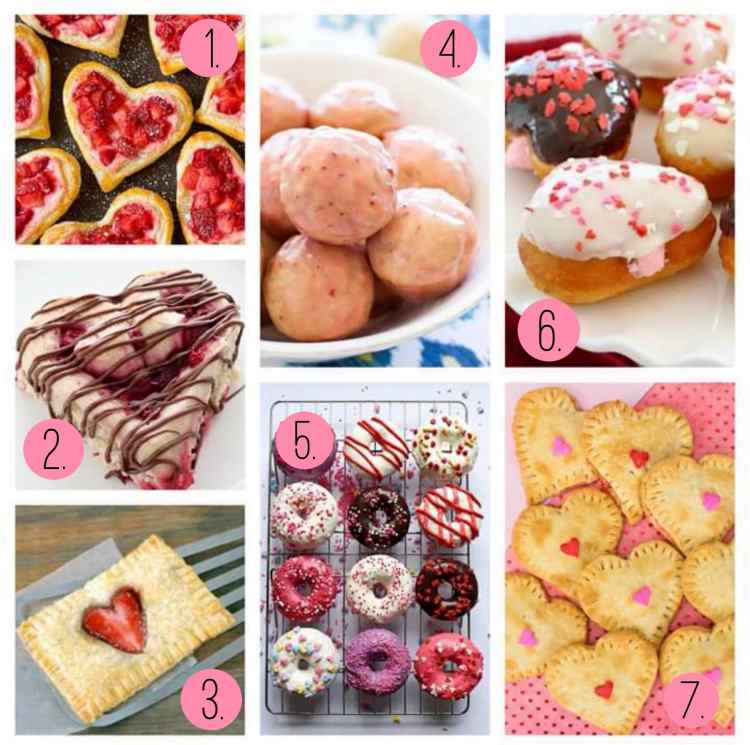 Heart shaped rolls and pastries. Valentine's heart pies!