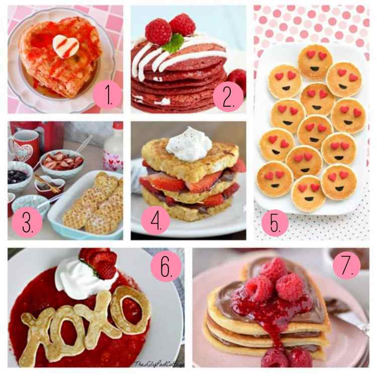 Pancakes and waffles, oh my! Valentine's Day hearts.