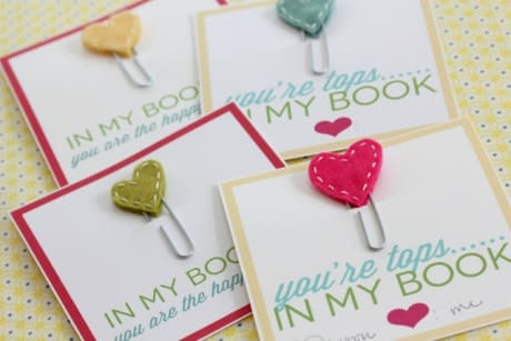 Hand-stitched heart bookmarks are a quick DIY Valentine's Day gift for book lovers.