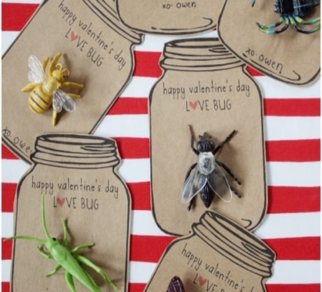 Fun valentine cards with bugs.