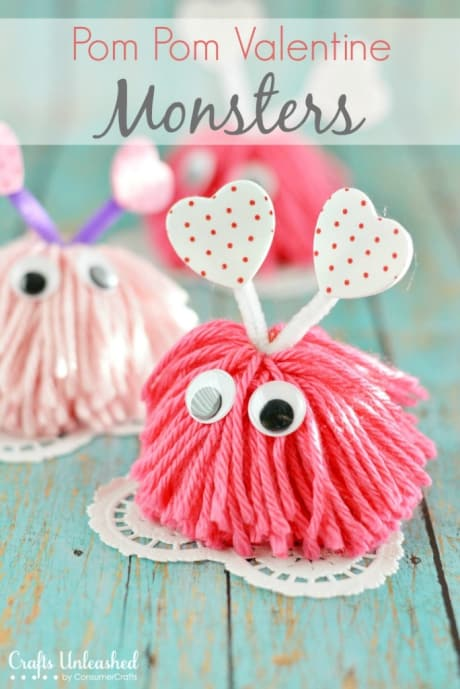 Cute pom-pom Valentine craft monsters.  DIY Valentine craft for kids.