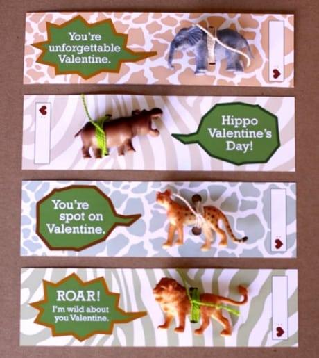 Valentine card for kids with wild animals.