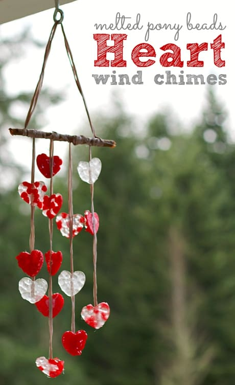 DIY Valentine craft made of melted pony beads – heart wind chimes.