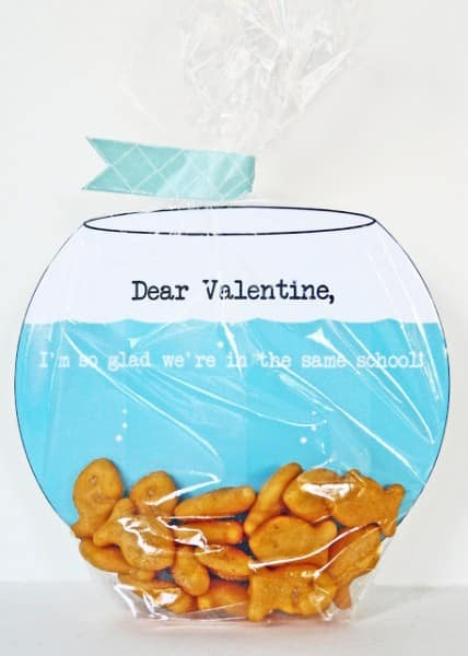 Make a fish bowl Valentine's Day card.
