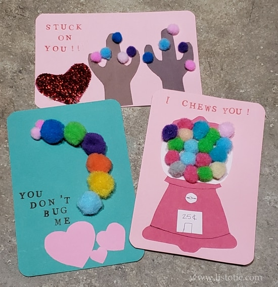 DIY Valentine's Day crafts using small poms with special messages to kids.