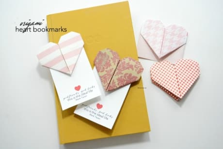 Origami heart bookmarks work well for Valentine's Day cards.