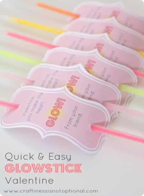 Glow sticks with free printable for Valentine's Day card.