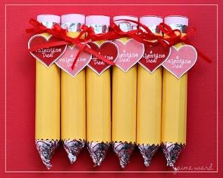 DIY Valentine craft for teachers. Cute Valentine's Day pencil craft.