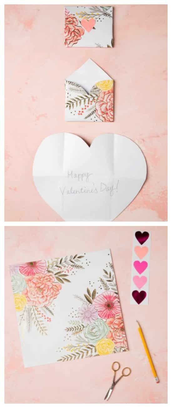 DIY Valentine's Day craft. Valentine card that becomes the envelope.