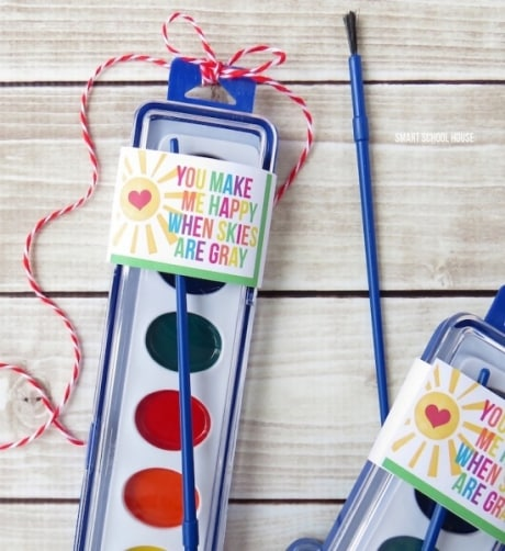 Easy DIY non-candy valentine gift. Give watercolor paints.