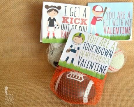 DIY Valentine for sports fans. Non-candy valentine.