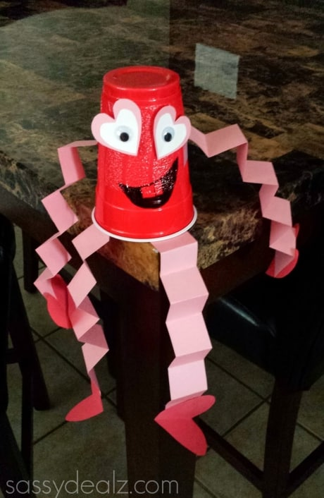 Cute red solo cup Valentine man craft for kids.