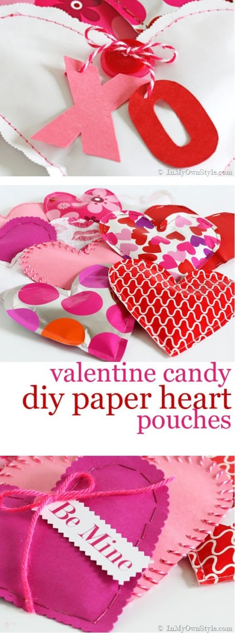 Valentine candy DIY paper heart pouches.
