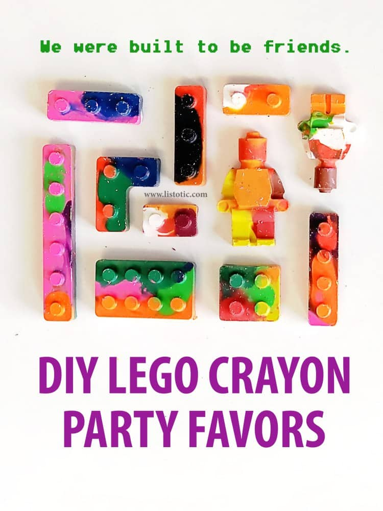 Easy and fun way to reuse old broken crayons for a lego party favor