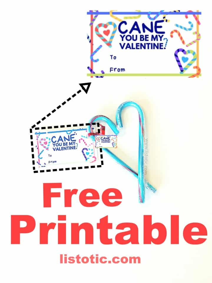 Creative way to save money on Valentine's day party favors with a free card printable - CANE you be my Valentine?