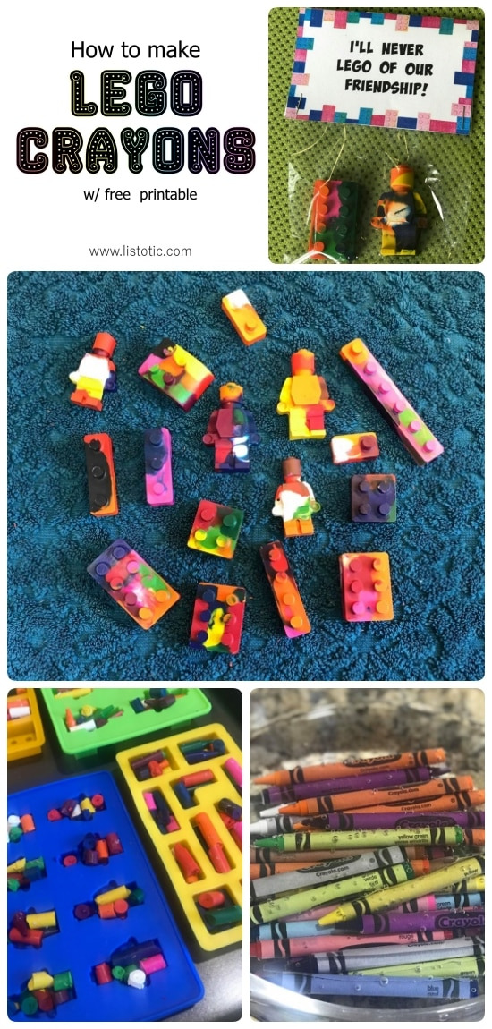 How to make Lego crayons. Great use for your old broken crayons.
