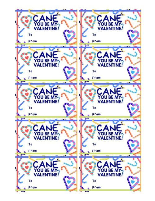 Full page of 10 valentine's day favor cards or treat tags