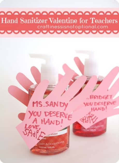 Giving hand sanitizer is a great teacher valentine gift.