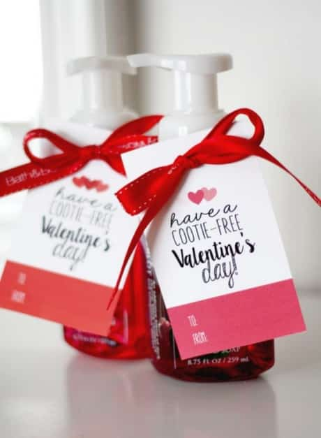 Hand soap helps keep the cooties away. Great teacher valentine gift.