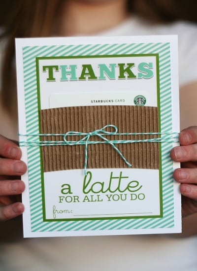 A gift card for coffee shows appreciation to teachers on Valentine's Day.